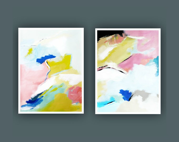 "Original Abstract Painting, Set of 2 Painting on Paper, Contemporary Art, Acrylic Painting, Set of Abstract paining 18""x24"" Each"