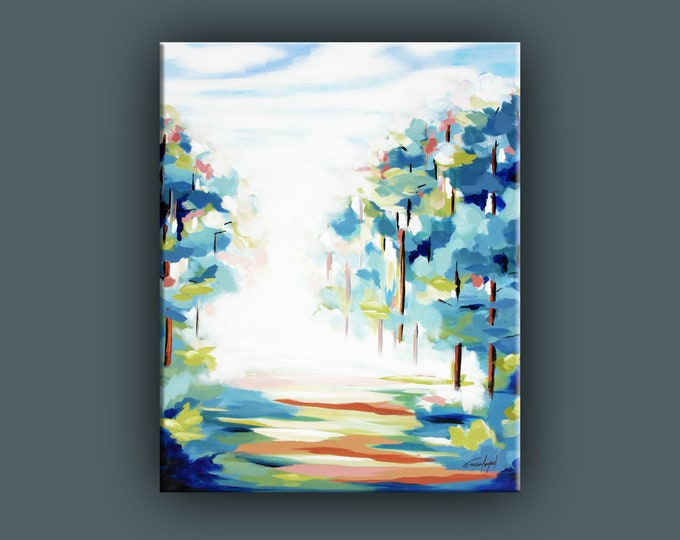 Original Painting, Contemporary Art, Large Acrylic Painting, Fine Art, Forest Landscape Painting, Ready to Hang, Free Shipping