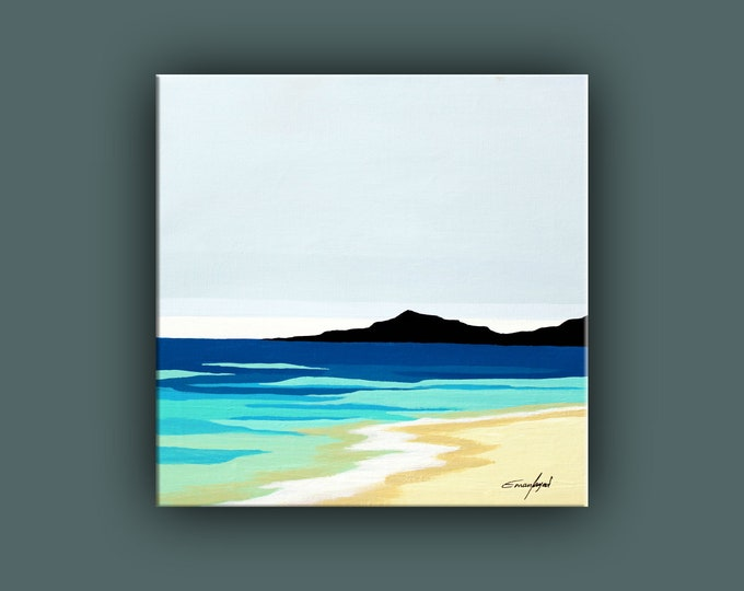 "Original Painting, Contemporary Art, Acrylic Seascape Painting, Square Fine Art, Abstract Landscape Paining 16""x16"" Ready to Hang"