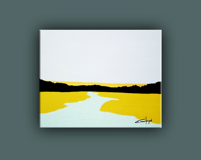 Original Painting, Contemporary Art, Landscape Painting on Canvas, Fine Art, Abstract Landscape Paining, Ready to Hang, Free Shipping