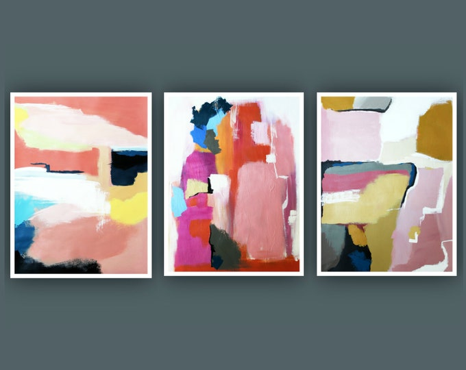 """Original Abstract Painting, Set of 3 Painting on Paper, Contemporary Art, Acrylic Painting, Set of Abstract paining 18""""x24"""" Each"""