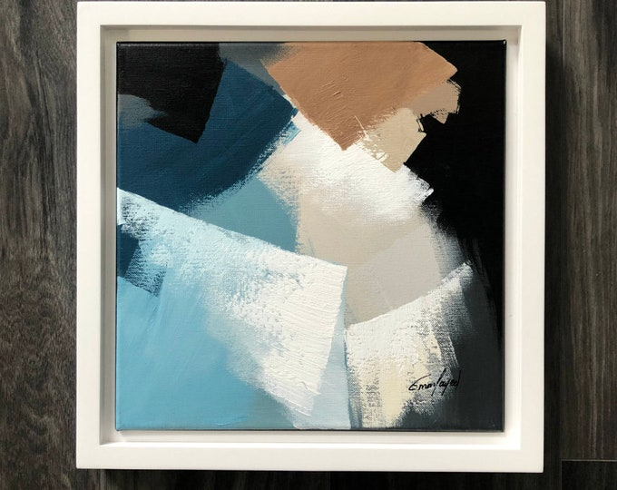 "Abstract Framed Painting Original, Contemporary Art, Acrylic Painting, Square Fine Art, Abstract paining 12""x12"" Ready to Hang"