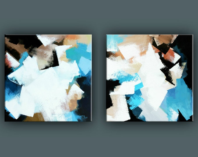 "Original Abstract Painting, Contemporary Art, Acrylic Painting, Set of 2 Square Fine Art, Set of 2 Abstract paining 24""x48"" Ready to Hang"