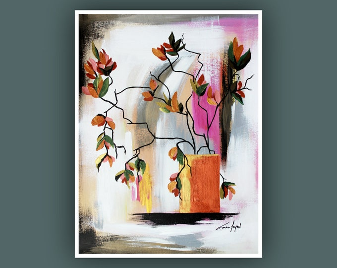 "SALE, Original Painting, Abstract Plants Painting, Contemporary Art, Modern Acrylic Painting, Painting on 18""x20"" Paper"
