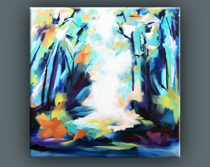 "Original Painting, Contemporary Art, Square Acrylic Painting, Abstract Forest Painting, Large Landscape Painting, 36x36"" Ready to Hang"