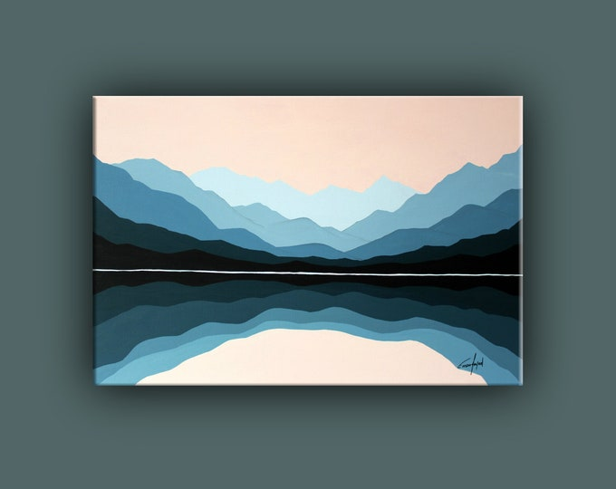 "Original Painting, Contemporary Art, Landscape Painting on Canvas, Fine Art, Mountains, Abstract Landscape Paining 24""x36"" Ready to Hang"