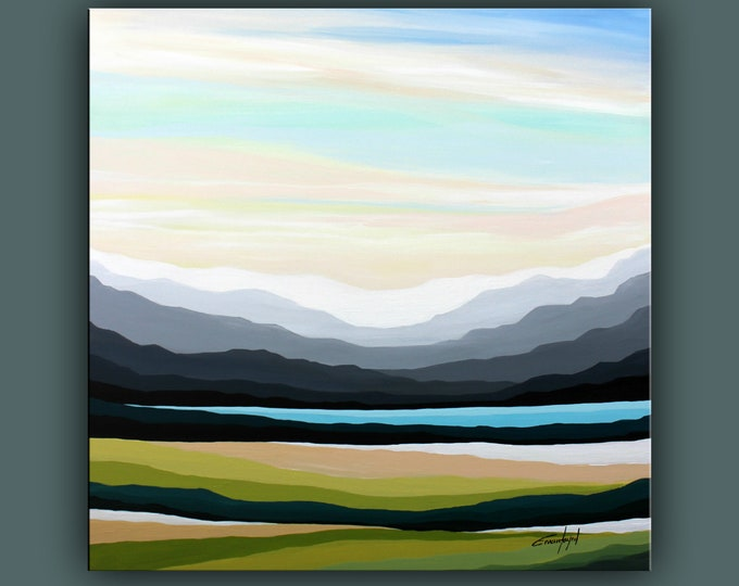 """Original Landscape Painting, Contemporary Art, Large Acrylic Painting, Square Fine Art, Abstract paining 36""""x36"""" Ready to Hang"""