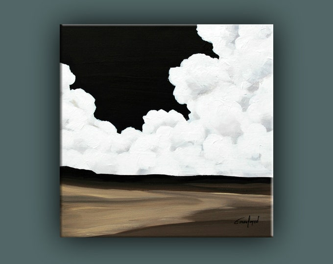 Original Painting, Cloud Painting. Contemporary Art, Acrylic Square Painting, Fine Art, Landscape Painting, Ready to Hang, Free Shipping