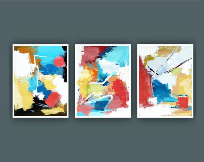 """Original Abstract Painting, Set of 3 Painting on Paper, Contemporary Art, Acrylic Painting, Set of Abstract paining 9""""x12"""" Each"""