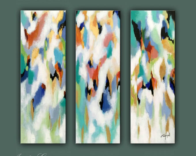 """SALE, Original Painting, Set of 3 Abstract Painting, Modern painting, Contemporary Art, Wall Decor 36""""x36"""" Ready to Hang"""