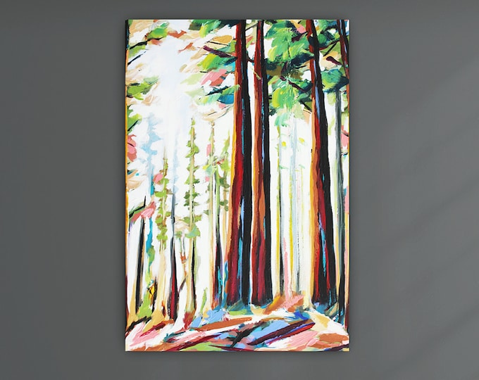 """Original Painting, Contemporary Art, Acrylic Painting, Abstract Forest Painting, Landscape Painting, 24""""x36"""" Ready to Hang"""