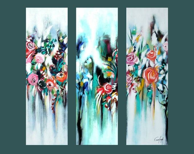 "SALE, Original Painting, Set of 3 Abstract Flower Painting, Modern painting, Contemporary Art, Wall Decor 36""x36"" Ready to Hang"