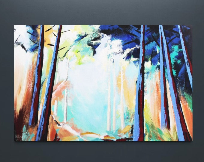 """Original Painting, Contemporary Art, Acrylic Painting, Abstract Forest Painting, Landscape Painting, 32""""x48"""" Ready to Hang"""