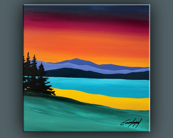 Original Landscape Painting, Contemporary Art, Acrylic on Canvas, Fine Art, Abstract Landscape Paining, Ready to Hang