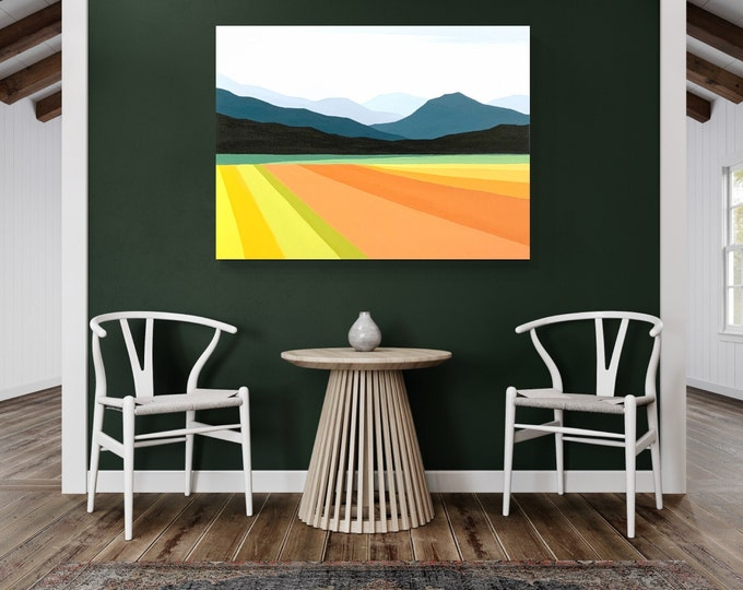 Original Landscape Painting, Contemporary Art, Mountain Painting, Acrylic on Canvas, Fine Art, Abstract Landscape Paining,  Ready to Hang