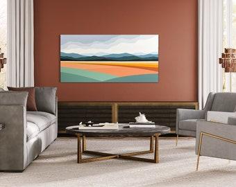 "Original Painting, Contemporary Art, Acrylic Painting, Abstract Painting, Landscape Painting, 24""x48"" Ready to Hang"