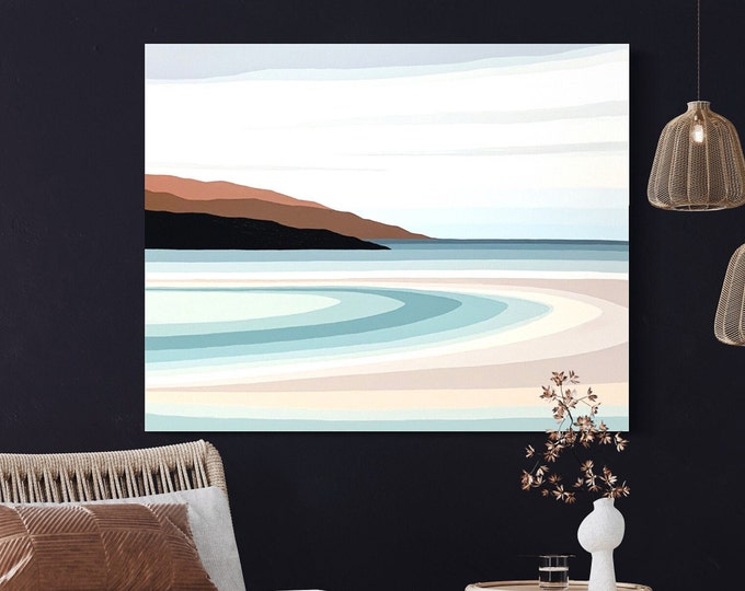 Original Painting, Contemporary Art, Mountain Painting, Acrylic on Canvas, Fine Art, Abstract Seascape Paining,  Ready to Hang