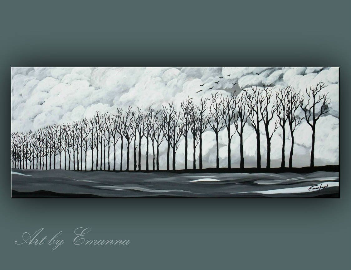 sale original landscape painting black and white trees painting