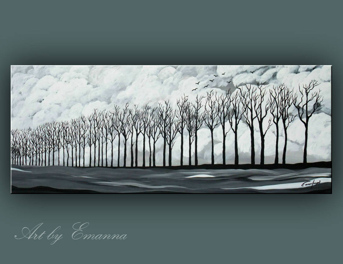 Sale original landscape painting black and white trees painting acrylic painting modern wall art 20x48 ready to hang