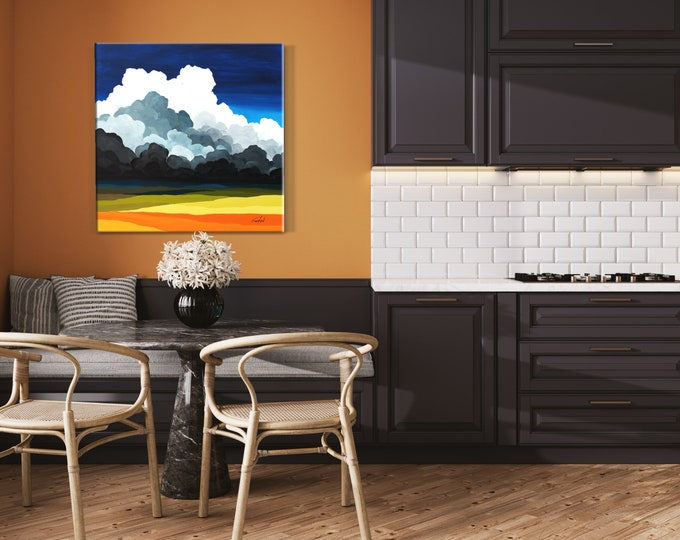 Original Painting, Cloud Painting. Contemporary Art, Acrylic Painting, Fine Art, Abstract Landscape Painting, Ready to Hang, Free Shipping