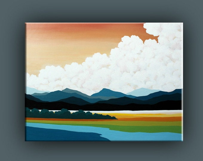 Original Painting, Cloud Painting. Contemporary Art, Acrylic Painting, Fine Art, Landscape Painting, Ready to Hang, Free Shipping