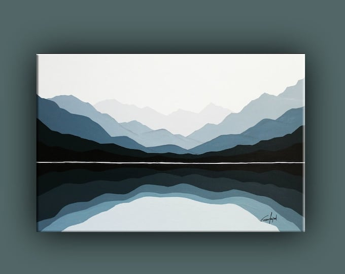 Original Painting, Contemporary Art, Landscape Painting on Canvas, Fine Art, Mountains, Abstract Landscape Paining, Ready to Hang