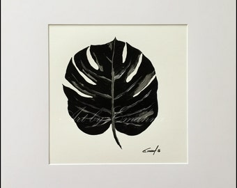 """Original Painting, Tropical Art, Abstract Painting, black and silver Modern Painting on Paper, 12""""x12"""""""