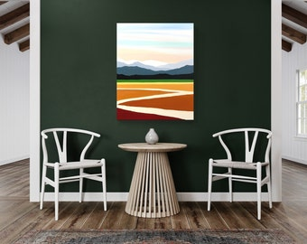 Original Painting, Contemporary Art, Large Acrylic Painting, Fine Art, Landscape Painting, Ready to Hang, Free Shipping