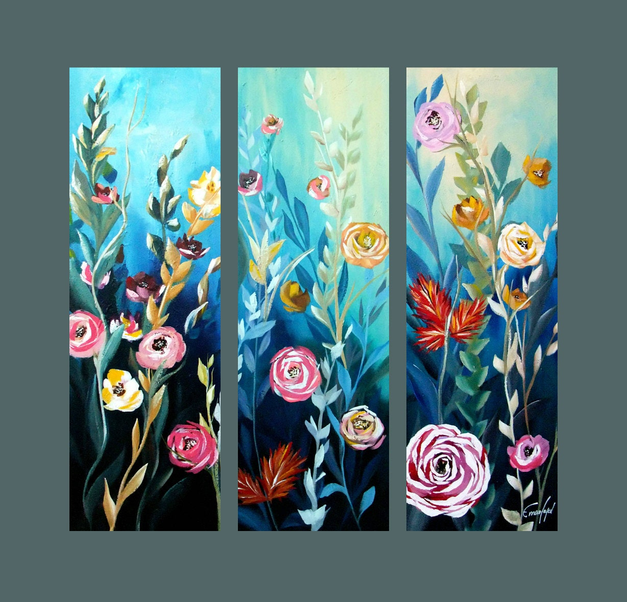 Sale original painting set of 3 abstract flower painting modern painting contemporary art wall decor 36x36 ready to hang