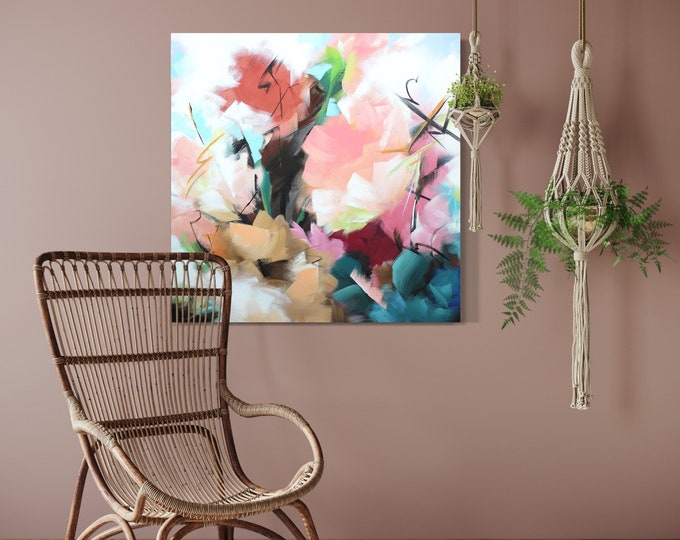 """Original Painting, Contemporary Art, Acrylic Painting, Abstract Flower Painting, 36""""x36"""" Ready to Hang"""