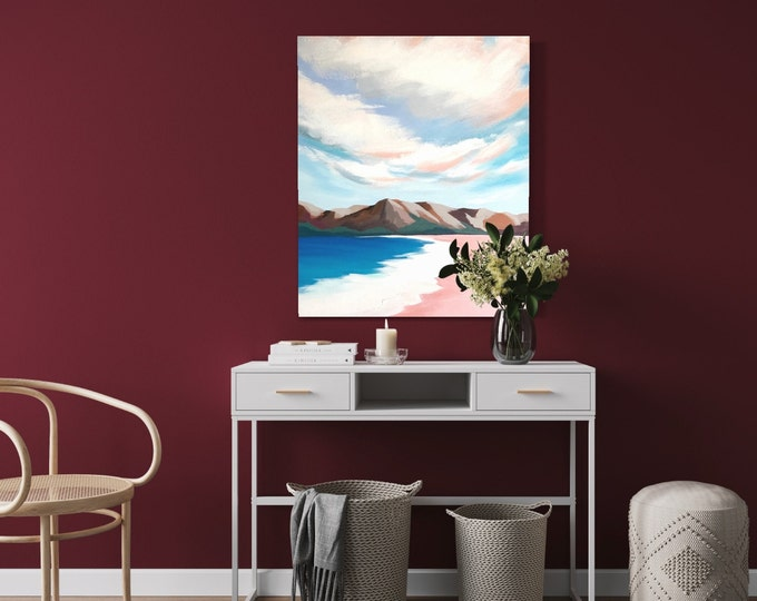 """Original Painting, Contemporary Art, Acrylic Painting, Fine Art, Seascape  Painting, 28""""x40"""" Ready to Hang, Free Shipping"""