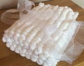 Baby Blanket, Hand Knitted, Pom Pom Wool, Chunky knit, Handmade, For boy, For girl, Baby Shower, New baby, Newborn gift.
