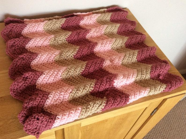 Merino Wool Baby blanket Chunky Raspberry and Cream Pink Chevron Stripe. Crochet blanket