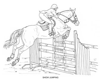 Horse Show jumping Equestrian Coloring book, horse riding PNG ... | 270x340