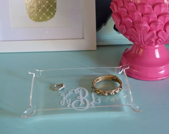Personalized Acrylic Jewelry Tray - Small - monogrammed lucite clear plastic tray