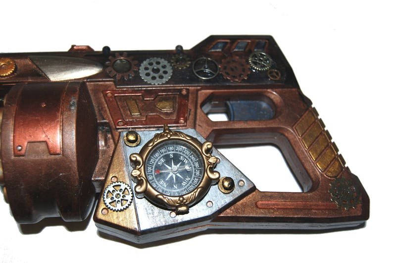 Big Steampunk Gun Cosplay Costume Prop Apocalyptic Weapon Accessory Gears Compass Post Apocalypse Deadly Battle Ready Detailed Hand painted
