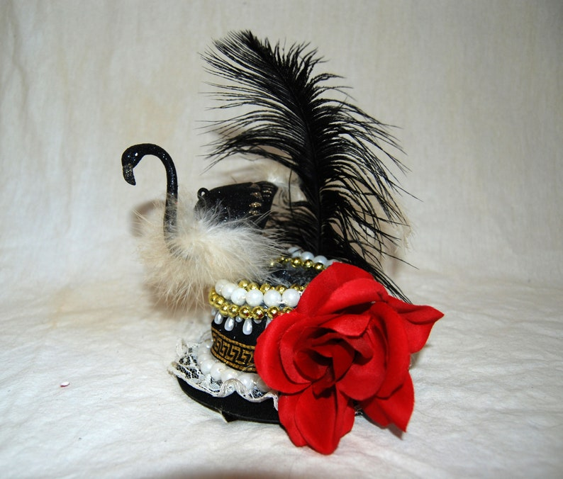 c5a3ca0efa8fe Steampunk Queen of Hearts Costume Mini Top Hat with Flamingo