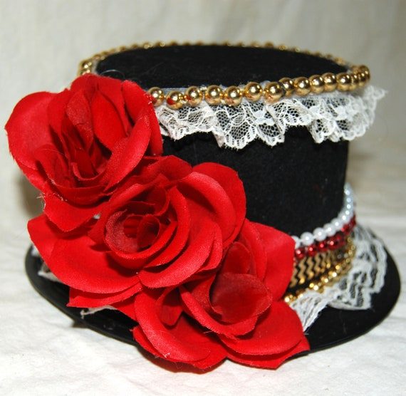 Steampunk Queen Of Hearts Costume Black Mini Top Hat Red Rose Etsy