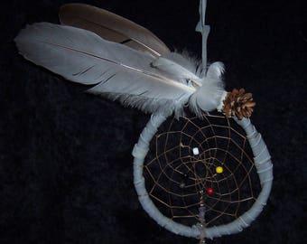 "Gray Goose Feather Dream Catcher 8"" / 7"""