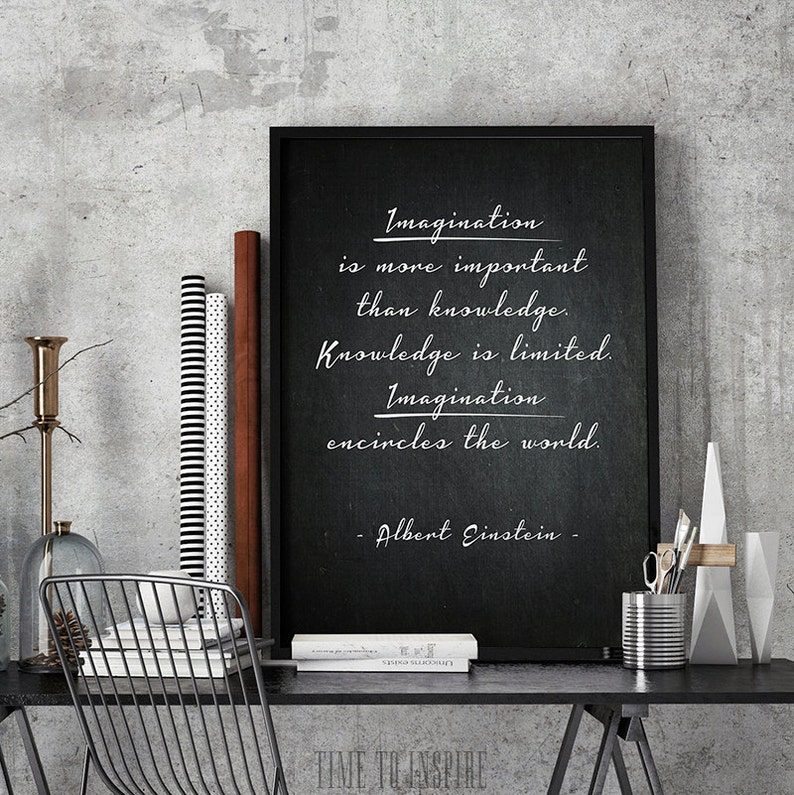 Imagination is more important than knowledge, Albert Einstein quote,  Einstein poster, Science wall art, Inspirational poster, Office art