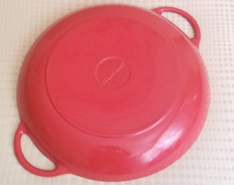 Colorcast Cast Iron Enameled Paella Pan X Large Saute Vintage Waterford Irish Cookware Orange Flame Made in Ireland Enamelware Cookware