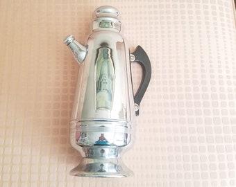 Art Deco XL Cocktail Shaker Chrome Pitcher Bakelite Handle Screw Cap Spout 1930s Vintage Barware Stainless Steel FREE Double JIGGER