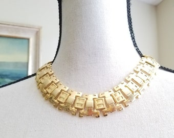 Goldtone Choker Statement Link Necklace Egyptian Exotic Unique Costume Jewelry Vintage Collar Bright and Light Metal
