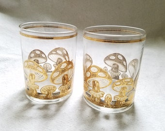 74ed6ddc874c Culver Gold Mushroom Glasses Lowball Pair Vintage Mid Century Set of Two  Signed Drinking Bar Cocktail Barware Retro Kitchen Magic Mushrooms