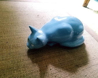 Crouching Ceramic Blue Cat Statue Large Kitty Figurine with White Glass Eyes Lifelike Collectable Russian Blue Vintage Unique Animal Decor