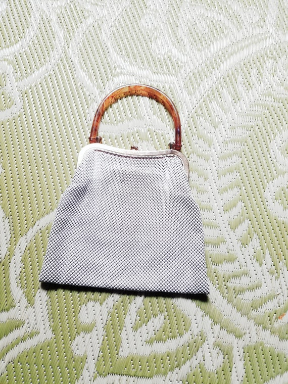 1940s Whiting and Davis White Mesh Purse Handbag w