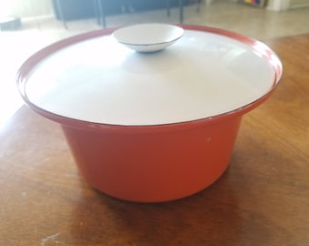 Cathrineholm Lidded Casserole Dish Dutch Oven Enamelware Orange White Baking Pan or Pot and Lid Mid Century Cookware Scandinavian Design