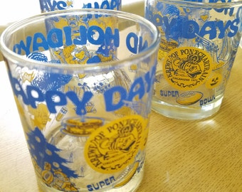 1980s New Orleans Happy Days and Holidays vintage set of four glassware from the Krewe of Pontchartrain Bourbon Street Mardi Gras barware