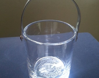 Ralph Lauren ice bucket vintage RL etched crown crest heavy crystal wine chiller barware MCMLXVII FREE Ice Tongs
