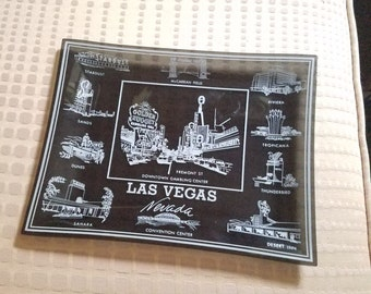 Souvenir Vegas casino large smoky glass coin tray vintage Las Vegas